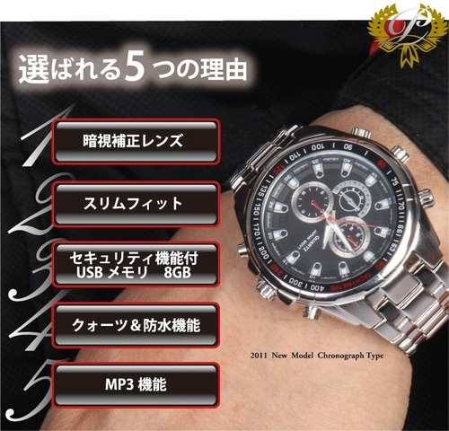 【小型ビデオカメラ】Pwp-B 腕時計型カメラ 送料無料